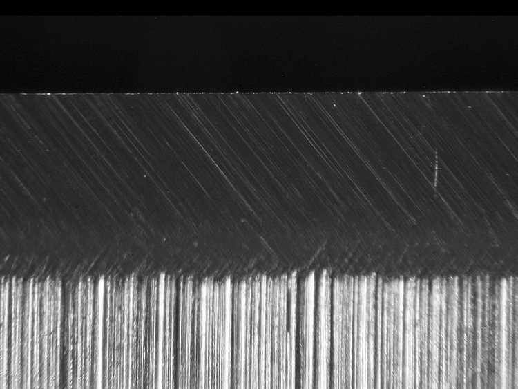 sharpened knife edge at 1 micron