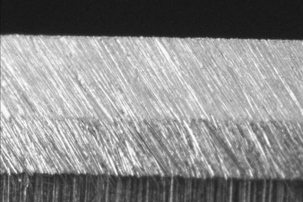 sharpened knife edge at 600 grit